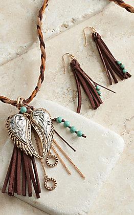 Blazin Roxx Braided Necklace with Wings & Fringe Earrings Jewelry Set 29058