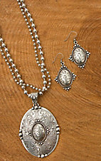 Blazin Roxx Silver Western Oval Necklace & Earrings Set 29070