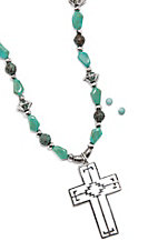 Blazin Roxx Turquoise Stone with Aztec Cross Necklace and Earrings Jewelry Set