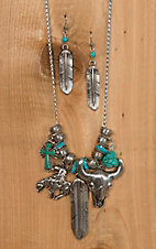 Blazin Roxx Silver & Turquoise Western Charms Necklace & Earrings Set 29074