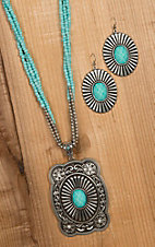 Blazin Roxx Silver Buckle with Turquoise Stone Pendant Necklace & Earrings Set 29076