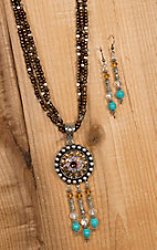 Blazin Roxx Concho with Beaded Fringe Pendant Necklace & Earrings Jewelry Set 29082