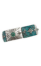 Blazin Roxx Silver and Turquoise Patina Stretch Bracelet