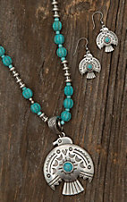 Blazin Roxx Ladies Silver and Turquoise Thunderbird Jewelry Set