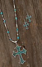 Blazin Roxx Ladies Silver and Turquoise With Cross Jewelry Set