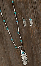 Blazin Roxx Ladies Silver and Turquoise With Feathers Jewelry Set