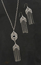 Blazin Roxx Ladies Silver Chain Fringe Jewelry Set