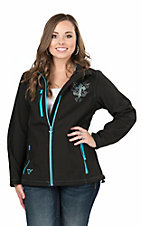 Cowgirl Hardware Women's Black and Turquoise with Rhinestone Cross Long Sleve Jacket