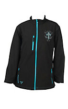 Cowgirl Hardware Women's Black and Turquoise with Rhinestone Cross Long Sleve Jacket - Plus Size