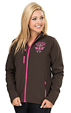 Cowgirl Hardware Women's Brown with Pink Filigree Cross Softshell Jacket