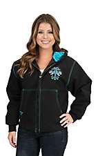 Cowgirl Hardware Women's Black with Turquoise Cross and Live Love Ride with Turquoise Studs Long Sleeve Canvas Jacket