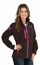 Cowgirl Hardware Women's Brown with Pink Accents Long Sleeve Canvas Jacket