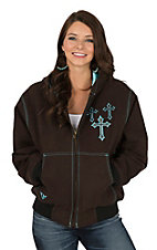 Cowgirl Hardware Women's Brown with Turquoise Cross Canvas Jacket