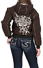 Cowgirl Hardware Women's Brown with Ivory Cross Canvas Jacket