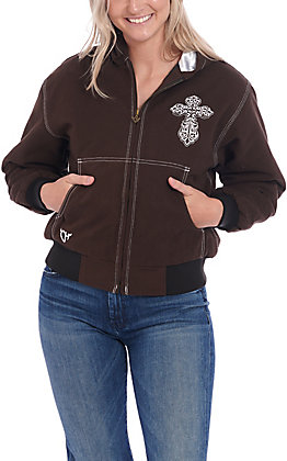 Cowgirl Hardware Women's Brown with White Blooming Cross Hooded Canvas Jacket
