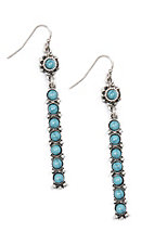 Blazin Roxx Silver Long Bar with Turquoise Stone Earrings