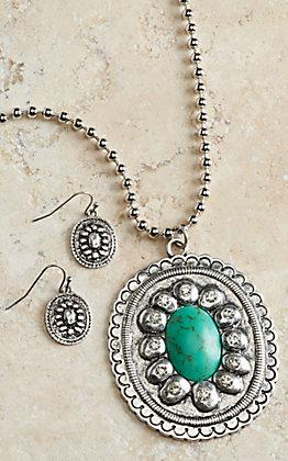 Blazin Roxx Silver Turquoise Oval Pendant Necklace & Earring Set