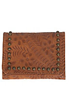 American West Shane Collection Golden Tan Floral Embossed Trifold Wallet