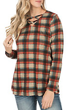 Grace & Emma Women's Maroon Plaid with Lace Elbow Long Sleeve Top
