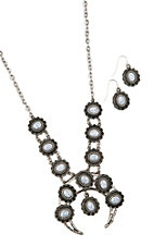 Blazin Roxx Silver Blossom Concho w/ White Marble and Earrings Jewelry Set