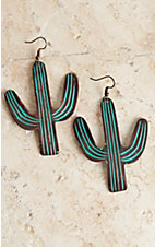 Blazin Roxx Turquoise Patina Large Cactus Earrings