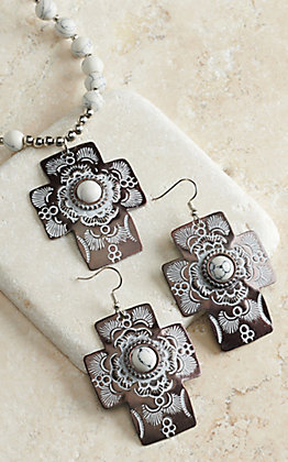 Blazin Roxx Bronze with White Stones Cross Necklace and Earrings Jewelry Set