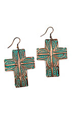 Blazin Roxx Copper and Turquoise Imprinted Earrings
