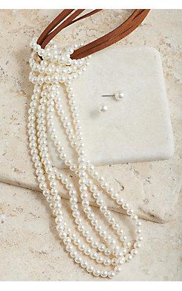 Blazin Roxx Leather Pearl Beaded Knot Necklace & Earring Jewelry Set