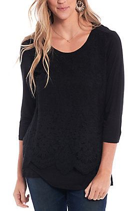 Magnolia Lane Women's Black Lace 3/4 Sleeve Fashion Top