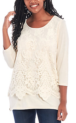 Magnolia Lane Women's Long Sleeve Lace Fashion Top