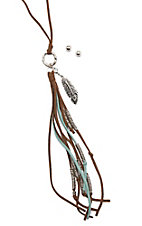 Blazin Roxx Long Strand with Feather and Tassel Necklace with Stud Earrings Jewelry Set