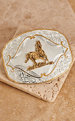 Montana Silversmiths Two-toned Horse Galloping Western Buckle