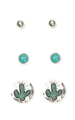 Blazin Roxx Women's Silver and Turquoise Stud and Cactus Earring Set