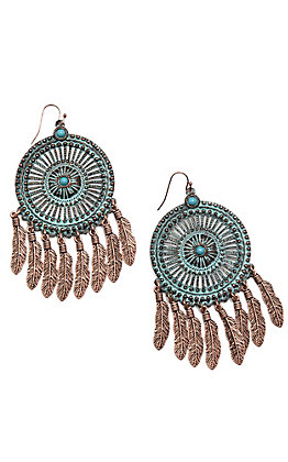Blazin Roxx Turquoise Patina Dream Catcher Earrings
