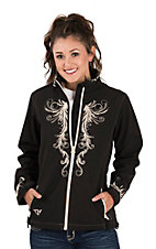 Cowgirl Hardware Women's Black Polyshell Swirl Embroidered Jacket