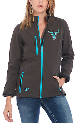 Cowgirl Hardware Women's Charcoal Grey Cow Skull Jacket