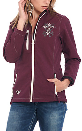 Cowgirl Hardware Women's Maroon with White Blooming Cross Softshell Jacket