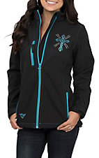 Cowgirl Hardware Women's Black with Turquoise Swirl Cross and Studs Long Sleeve Poly Jacket