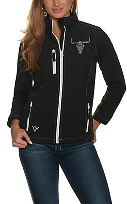 Cowgirl Hardware Women's Black with White Skull Bonded Jacket