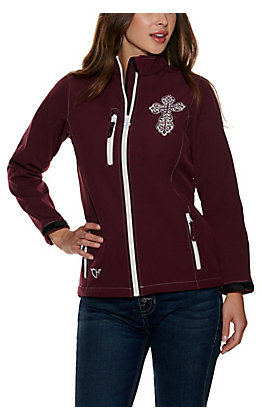 Cowgirl Hardware Women's Burgundy with White Cross Bonded Jacket