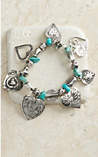 M&F Products Turquoise & Silver Heart Charm Bracelet