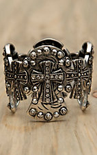 M&F Antiqued Silver Crosses w/ Silver Crystals Large Stretch Bracelet