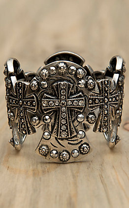 M&F Antiqued Silver Crosses with Silver Crystals Large Stretch Bracelet