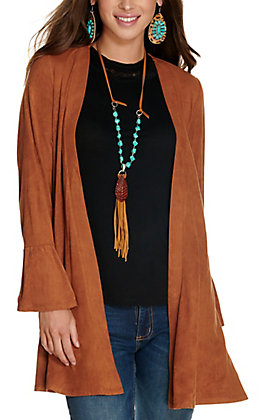 Cowgirl Hardware Women's Brown Faux Suede Long Sleeve Jacket