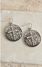 M&F Western Products Silver Medallion with Cross and Crystals Dangle Earrings