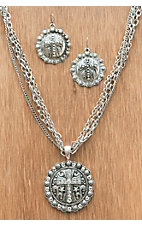 M&F Western Products Silver Medallion with Cross and Crystals Jewelry Set
