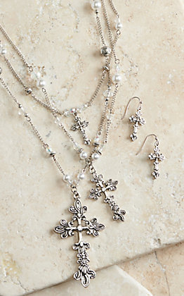 M&F Western Products Cross Pearl Long Multi Chain Jewelry Set