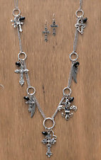 M&F Western Products Silver Cross, Wing & Fleur de Lis Charms Long Chain Jewelry Set