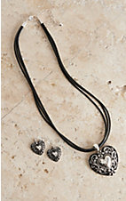 Blazin Roxx Silver Heart Jewelry Set