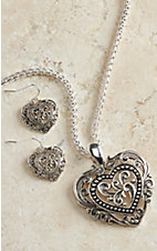 Blazin Roxx Silver Filigree Heart Jewelry Set 29462